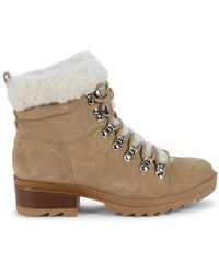Marc Fisher Women's Shearling-trim Suede Winter Boots - Natural - Size 6