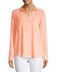 Eileen Fisher Easy-fit Organic Cotton Gauze Shirt - Multicolour