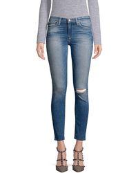 Hudson Jeans Nico Frayed Super Skinny Jeans - Blue