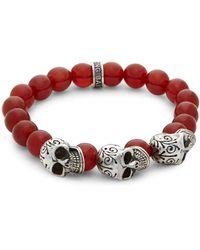 King Baby Studio Beaded Skull Bracelet - Red
