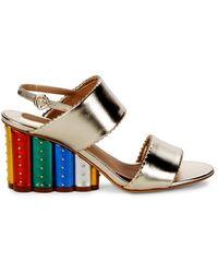 Ferragamo Gavi 3 Metallic Leather & Floral Wedge Heel Sandals