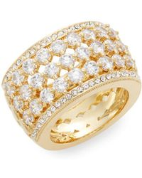 Adriana Orsini - Opulent White Stone Barrel Ring/goldtone - Lyst
