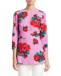 Lela Rose Crepe Rose Print Peplum Top - Pink