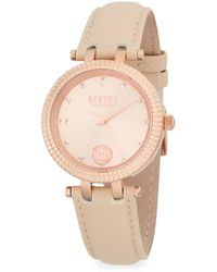 Versace Posh Rose-gold Stainless Steel & Leather Strap Watch - Multicolour