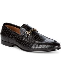 Saks Fifth Avenue Firenze Leather Croc Loafers - Black