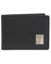 Versace Leather Bi-fold Wallet - Black