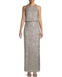 Adrianna Papell Embellished Blouson Gown - Metallic