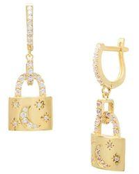 Gabi Rielle - Women's Crescent Lock 22k Gold Vermeil & Cubic Zirconia Huggie Hoop Earrings - Lyst