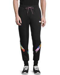 PUMA Men's Graphic Cotton Pants - Black - Size Xxl