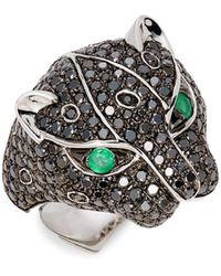 Effy 14k White Gold, Emerald & Black Diamond Ring - Multicolour