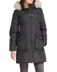 DKNY Women's Quilted Faux Fur-trim Hooded Coat - Loden - Size S - Black