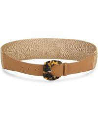 Lafayette 148 New York Faux Tortoise Leather Belt - Brown