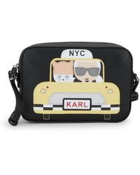 Karl Lagerfeld Maybelle Taxi Leather Crossbody Bag - Black