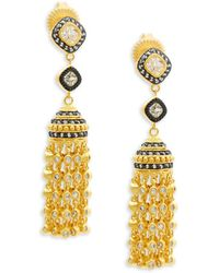 Freida Rothman - Crystal & Sterling Silver Tassel Drop Earrings - Lyst