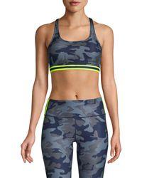 WEAR IT TO HEART Women's Camo Cross-back Sports Bra - Slate Camo - Size S - Multicolour