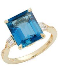 Effy 14k Yellow Gold, Blue Topaz & Diamond Ring