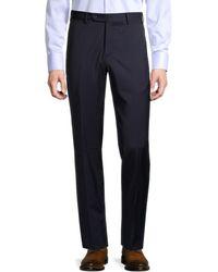 Zanella Men's Parker Class Stretch-wool Trousers - Blue - Size 42