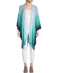 Missoni Fringed Open-front Chevron Poncho - Blue