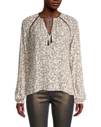 Cupcakes And Cashmere Women's Halston Printed Tassel Blouse - Cameo Rose - Size Xs - Multicolor