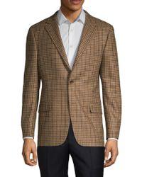 Hickey Freeman Milburn Ii Wool Cashmere Check Sport Coat - Brown
