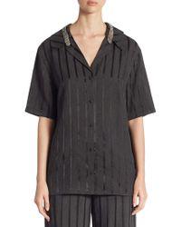Alexander Wang Crystal-trim Striped Short-sleeve Pyjama Top - Black