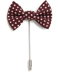 Saks Fifth Avenue Collection Silk & Cotton Bow Tie Lapel Pin - Blue