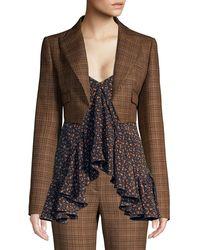 Michael Kors Spencer Cropped Plaid Wool Jacket - Brown