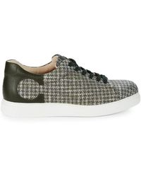 Canali Leather-trim Plaid Trainers - Green