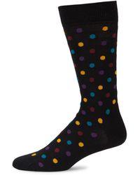 Happy Socks Men's Polka Dot-print Crew Socks - Black