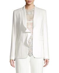 Elie Tahari Serena Ruffle Front Blazer - White
