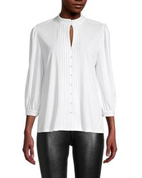 Karl Lagerfeld - Women's Pleated Keyhole Top - Soft White - Size Xl - Lyst