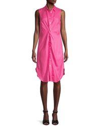 Saks Fifth Avenue Twist Front Linen Shirtdress - Pink