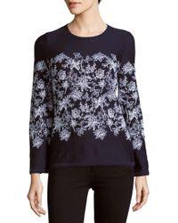 Carolina Herrera - Floral-print Virgin Wool Sweater - Lyst
