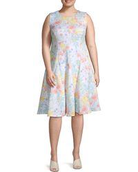 Calvin Klein Plus Floral Fit-&-flare Dress - Blue
