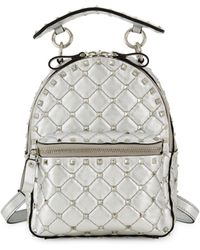 Valentino Garavani Rockstud Embellished Leather Backpack - Metallic