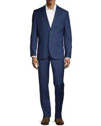Ben Sherman Men's 2-piece Slim Fit Windowpane Check Stretch Wool-blend Suit - Navy - Size 40 L - Blue