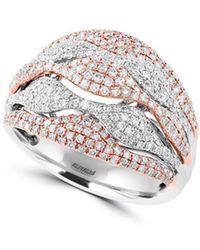 Effy - Diamond, 14k White & Rose Gold Ring - Lyst