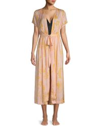 Free People Printed Open-front Robe - Multicolor