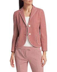 Akris Punto Women's Pinstripe Seersucker Blazer - Pink Multi - Size 10