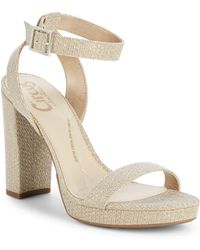 6f99df5b9b5 Vince Camuto Beah Leather Block Heel Sandals in Natural - Lyst