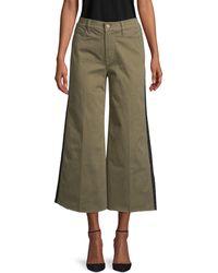 FRAME Tuxedo-stripe Cropped Wide-leg Jeans - Green