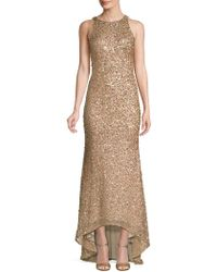 Adrianna Papell Sequin-embellished Sleeveless Gown - Metallic