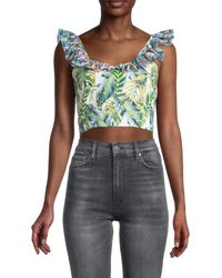 All Things Mochi Women's Leaf-print Cropped Top - Green - Size Xs