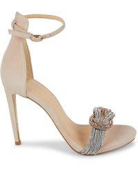 Alexandre Birman Embellished Suede Ankle-strap Sandals - Natural