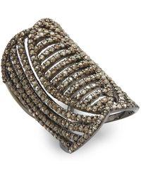 Bavna - Champagne Diamond And Sterling Silver Midi Ring - Lyst