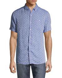 Report Collection Modern-fit Anchor-print Linen Shirt - Blue
