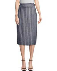 Max Mara Palco Pinstripe Wrap Skirt - Gray