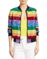 Alice + Olivia Queen Sequin Rainbow Bomber Jacket - Multicolor