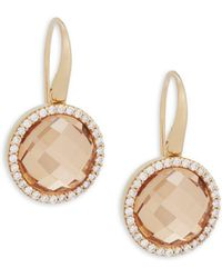 Roberto Coin - Diamond, Crystal And 18k Yellow Gold Doublet Drop Earrings - Lyst