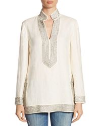 Tory Burch Crystal-embellished Linen Tunic - White